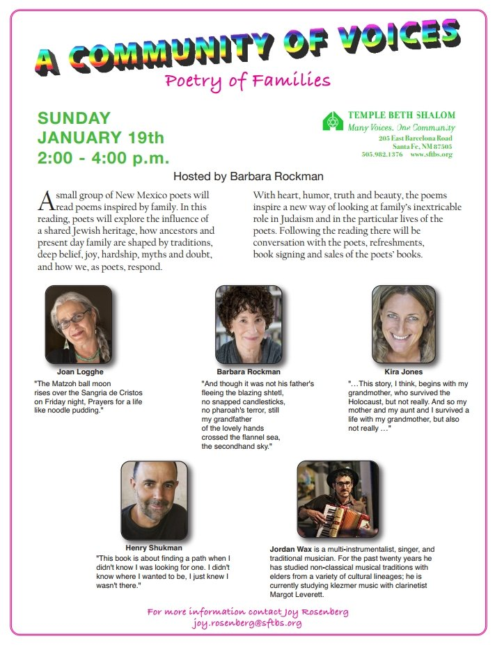 Poetry of Families Reading Sun Jan 19th